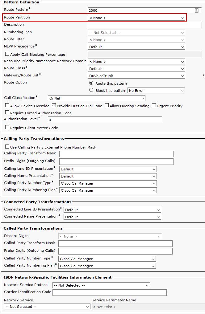 Unified CM SIP Trunk [DuVoice]